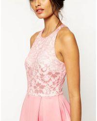 ASOS   Pink Tall Lace Top Scuba Skater Midi Dress   Lyst