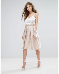 Vesper | Pink Jacquard Skater Midi Skirt | Lyst