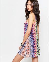 Pia Rossini - Blue Rosetta Printed Mini Beach Dress - Multi - Lyst