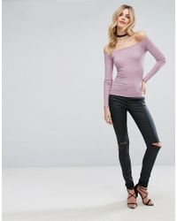 ASOS - Purple Top With Off Shoulder In Rib - Lyst