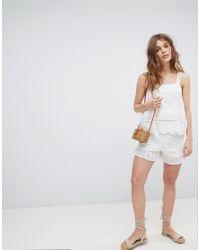 ASOS - White Design Shorts In Summer Cotton Broderie - Lyst