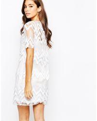 True Violet - White Loop Fringe Shift Dress - Lyst
