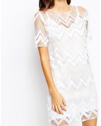 True Violet - White Loop Fringe Shift Dress - Lyst