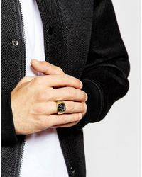 ASOS | Metallic Gold Plated Sterling Silver Ring for Men | Lyst