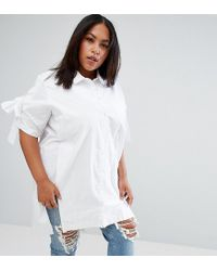 ASOS - Blue Cotton Shirt Tunic With Splits - Lyst