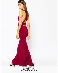 Club L | Purple Open Back Strap Detail Maxi Dress With Fishtail | Lyst