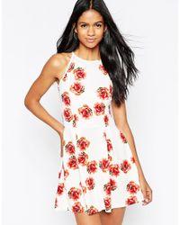 AX Paris | Red Halterneck Cami Dress In Rose Print - Cream | Lyst