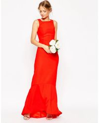 ASOS | Red Wedding Maxi Dress With Fishtail Hem | Lyst