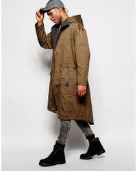 ASOS - Green Extreme Longline Parka Jacket In Khaki for Men - Lyst