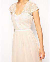 ASOS | Natural Petite Scalloped Lace Midi Dress | Lyst
