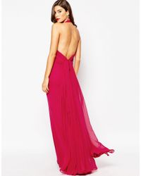 Jarlo - Red Oriana High Neck Maxi Dress With Chiffon Back Train - Lyst
