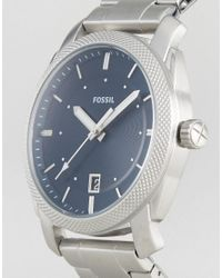 Fossil | Metallic Fs5340 Machine Bracelet Watch In Silver for Men | Lyst