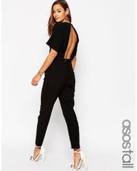 ASOS | Black Tall Jumpsuit In Crepe With Open Back And D-ring | Lyst