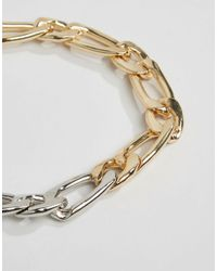ASOS - Metallic Mixed Chain Link Choker Necklace - Lyst