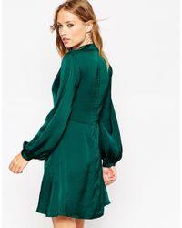 Needle & Thread | Black Bell-Sleeve Satin Skater Dress  | Lyst