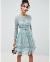 8038c6444cac ASOS Premium Lace Mini Skater Dress With Long Sleeves in Green - Lyst