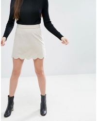 ASOS - Natural A-line Mini Skirt With Scallop Hem - Lyst