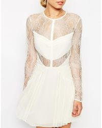 ASOS | Yellow Lace And Pleat Detail Mini Dress | Lyst
