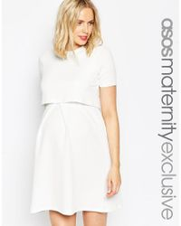 ASOS | White Maternity Nursing Textured Skater Dress With Double Layer | Lyst