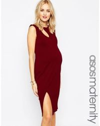 ASOS | Black Maternity Textured Bodycon Dress With Curve Cut Out | Lyst