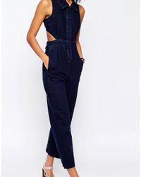 ASOS | Blue Denim Wide Leg Jumpsuit With Collar In Indigo | Lyst