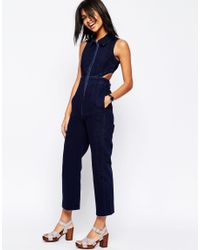 ASOS | Blue Denim Wide Leg Jumpsuit With Collar In Indigo | Lyst