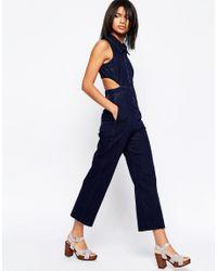 ASOS - Blue Denim Wide Leg Jumpsuit With Collar In Indigo - Lyst