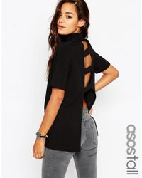 ASOS | Black Tall High Neck Tunic With Open Back | Lyst