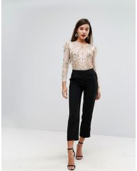 A Star Is Born - Pink Embellished Bodysuit In Sheer Mesh - Lyst