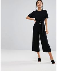 Warehouse | Black O-ring Jumpsuit | Lyst