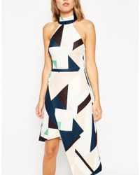 ASOS - Multicolor A-line Dress In Geo Print With High Neck And Asymmetric Hem - Lyst