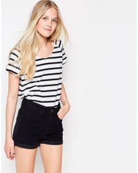 Vila - White Dreamers Striped U Neck T-shirt - Lyst