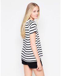 Vila - White Dreamers Striped U Neck T-shirt - Lyst