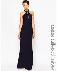ASOS | Blue Tall Wedding Plunge Wrap Maxi Dress With Tie Waist | Lyst
