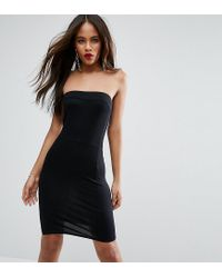 ASOS | Black Strapless Mini Bodycon Dress With Curved Splits | Lyst