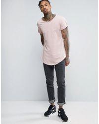 G-Star RAW - Pink Longline Vontoni Crew Neck T-shirt for Men - Lyst