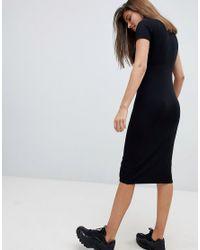 ASOS - Black Asos Rib T-shirt Midi Dress With Popper Skirt - Lyst