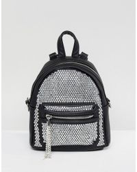 ALDO - Black Backpack With Crystal Studding Detail And Tassels - Lyst