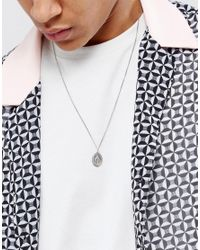 ASOS - Metallic Sterling Silver Necklace With Pendant for Men - Lyst