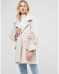 ASOS - Pink Oversized Coat With Bow Sleeve - Lyst