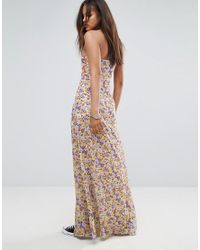 Jaded London - Multicolor Bandeau Mix Print Maxi Dress With Bow Detail - Lyst