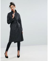ASOS - Black Asos Shawl Collar Belted Coat - Lyst
