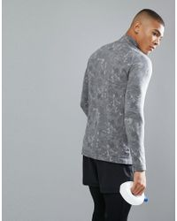 Saucony - Gray Running Runlife Seamless 1/4 Zip Sweat In Print Sam800019-dgh for Men - Lyst