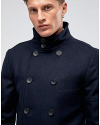 French Connection - Black Funnel Coat for Men - Lyst