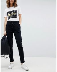 SELECTED - Black Front Seam Trousers - Lyst