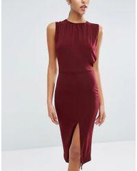 ASOS - Pink Blouson Crepe Midi Dress - Lyst