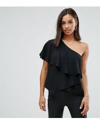 ASOS - Black One Shoulder Tiered Top - Lyst