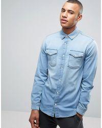 Jack & Jones - Blue Intelligence Slim Fit Jersey Denim Shirt for Men - Lyst