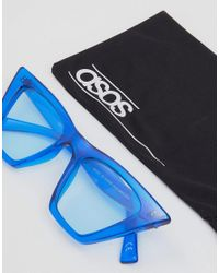 ASOS - Blue Cat Eye Fashion Sunglasses With Square Frame - Lyst
