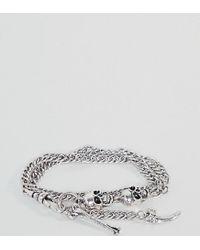 Reclaimed (vintage) - Metallic Inspired Skull & Bone Chain Bracelet In Silver Exclusive To Asos for Men - Lyst
